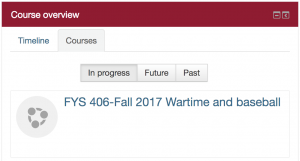 Example of the Moodle course overview